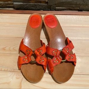 """FRYE """"Ellie Ring"""" Leather Slides in gorgeous Coral"""